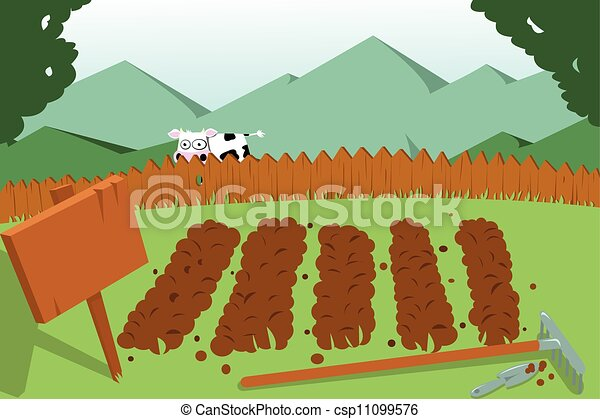 Vectors Illustration of Vegetable Garden and a cow a vector