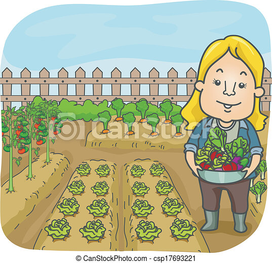 vegetable garden illustration of a woman carrying fruits and rh canstockphoto com garden clip art background garden clip art black and white