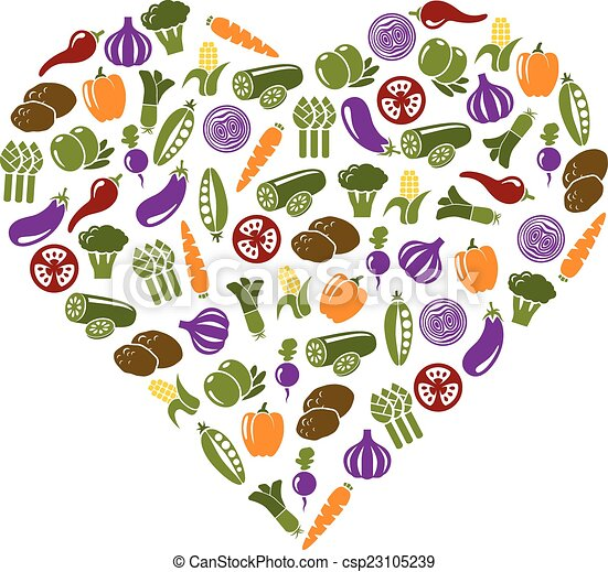 vegetable icons in heart - csp23105239