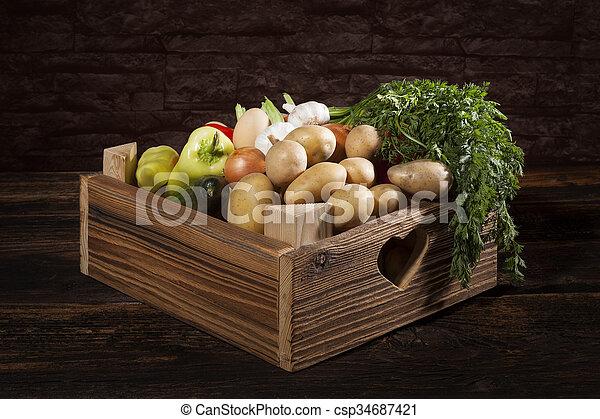 Vegetable in wooden crate. - csp34687421