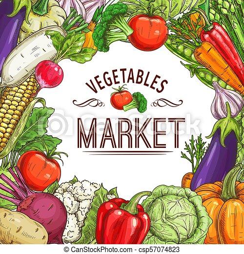 Vegetable market poster with frame of fresh veggies