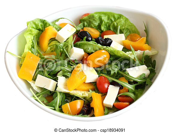 vegetable salad in bowl isolated - csp18934091