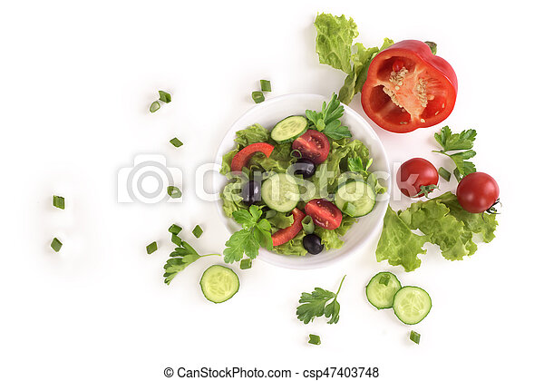 Vegetable salad on a plate on a white background - csp47403748