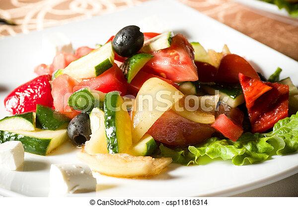 Vegetable salad on plate - csp11816314