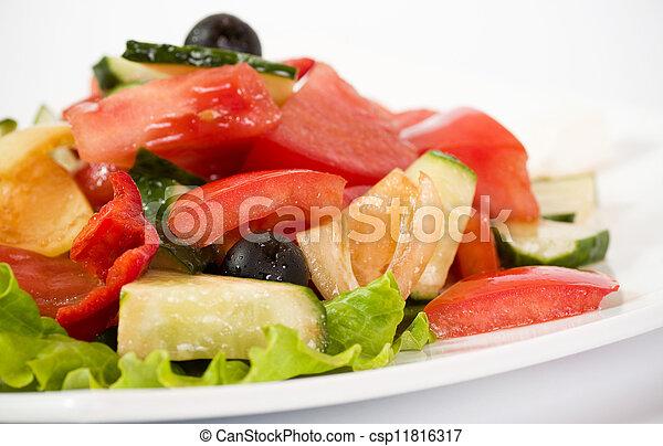 Vegetable salad on plate - csp11816317