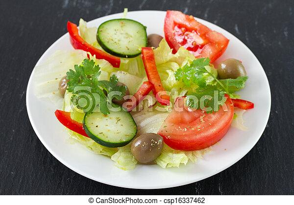 vegetable salad on plate - csp16337462