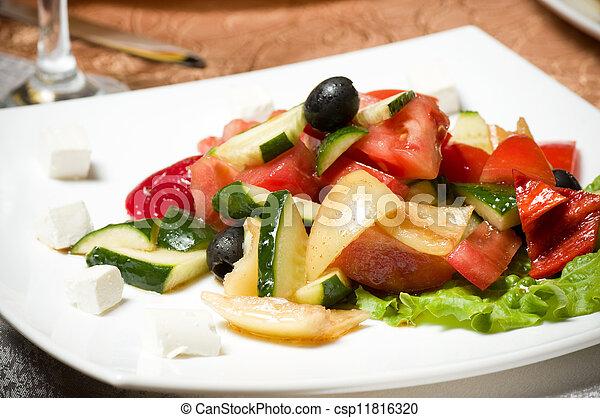 Vegetable salad on plate - csp11816320