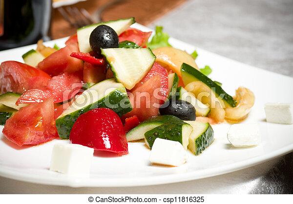Vegetable salad on plate - csp11816325