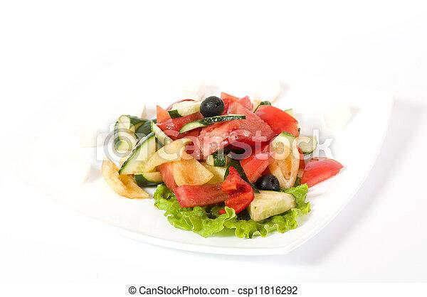 Vegetable salad on plate - csp11816292