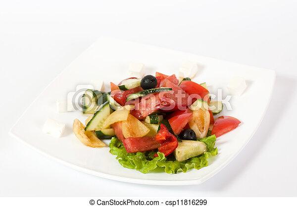 Vegetable salad on plate - csp11816299