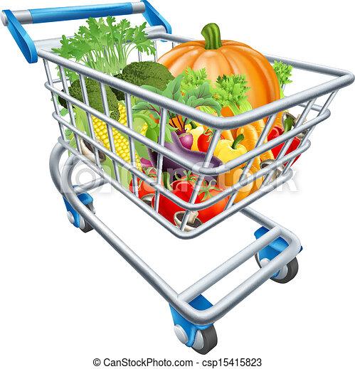 Full Grocery Cart Clipart Vegetable shopping car...