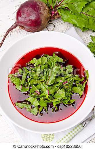Vegetable soup from young, fresh sheets of the beetroot - csp10223656