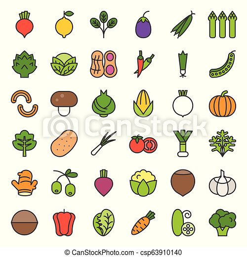 Vegetable vector icon set, filled outline style - csp63910140