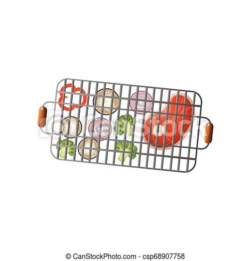 Vegetables and fresh steak on metal steel bbq basket - csp68907758