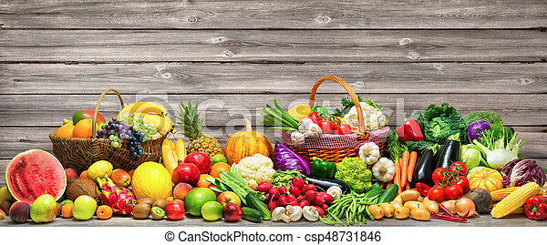 Vegetables and fruits background - csp48731846