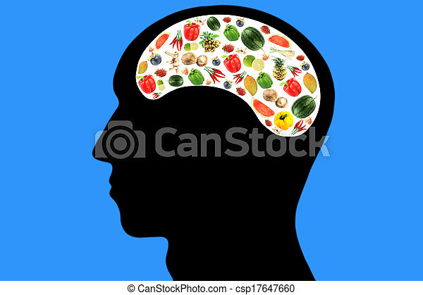 Vegetables and fruits in Head on Blue Background. - csp17647660