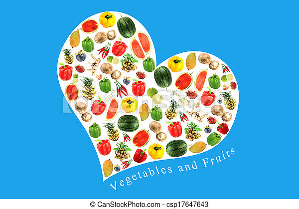 Vegetables and fruits in white heart on Blue Background. - csp17647643