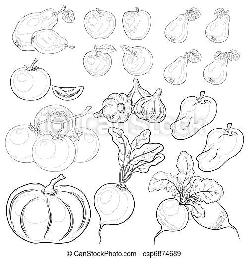 vegetables and fruits outline set stock illustration
