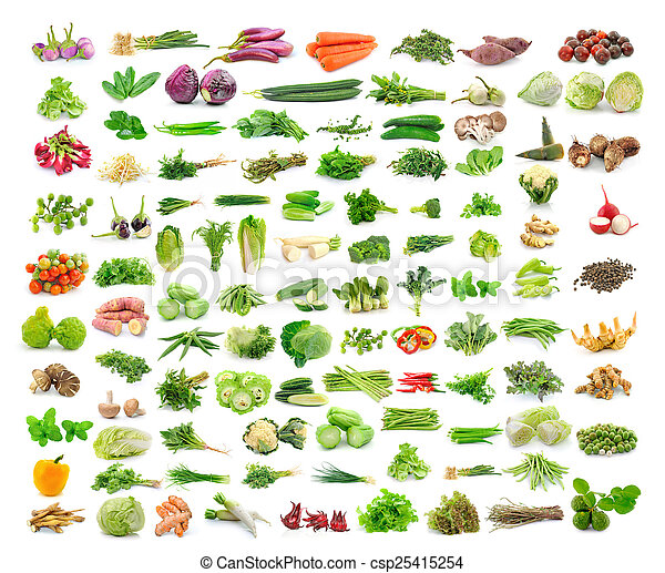Vegetables collection isolated on white background - csp25415254