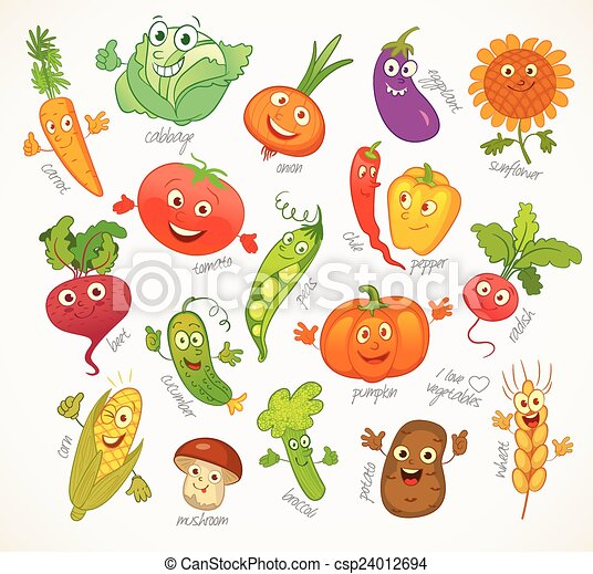 Vegetables. Funny cartoon character - csp24012694