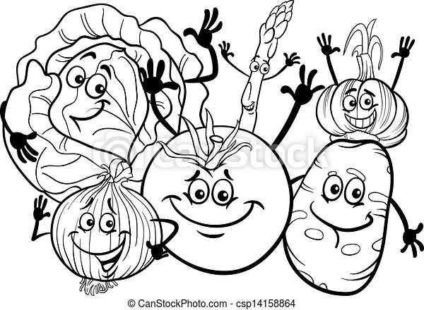 vegetables group cartoon for coloring book - csp14158864