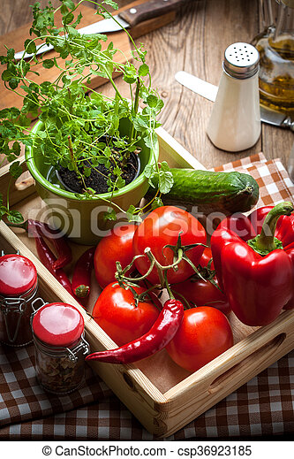 Vegetables in a wooden box. - csp36923185