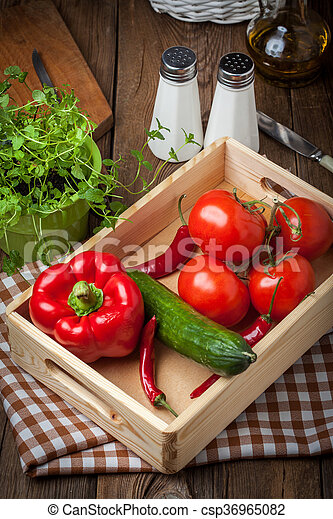 Vegetables in a wooden box. - csp36965082