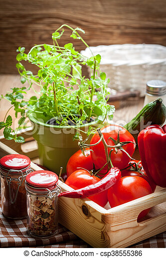 Vegetables in a wooden box. - csp38555386