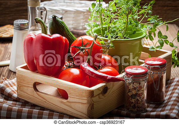 Vegetables in a wooden box. - csp36923167
