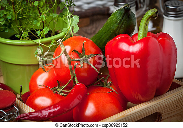 Vegetables in a wooden box. - csp36923152