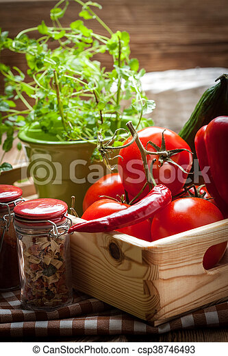 Vegetables in a wooden box. - csp38746493