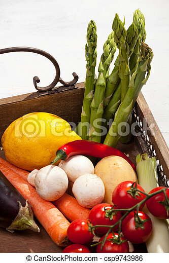 vegetables in a wooden tray - csp9743986