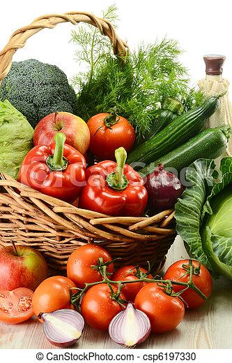Vegetables in wicker basket - csp6197330