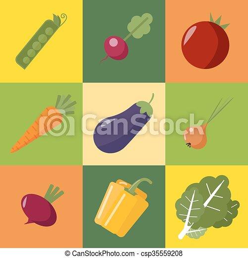 Vegetables Set. Healthy Food. Pepper, Eggplant, Peas, Onions, Radish, Tomato, Beet, Carrot, Cabbage. Flat Style - csp35559208