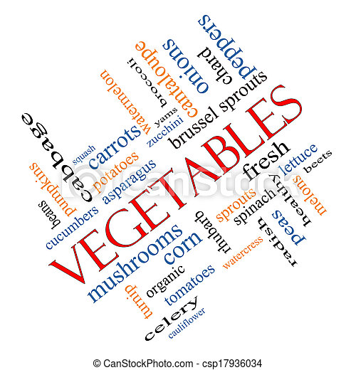 Vegetables Word Cloud Concept Angled - csp17936034