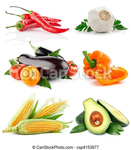 Pon frutas vegetales aisladas en el blanco - csp4153977