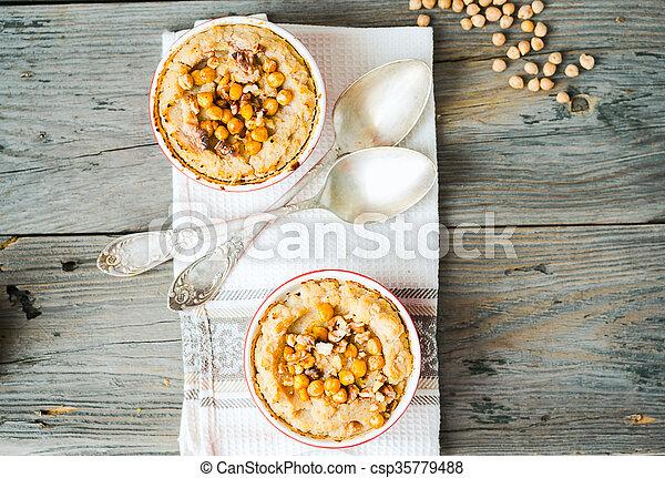 vegetal, chickpeas, nozes, cogumelos, casserole - csp35779488