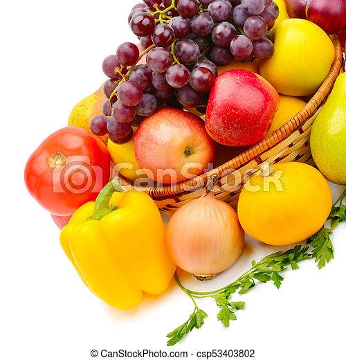 vegetal, fondo., blanco, aislado, fruits - csp53403802