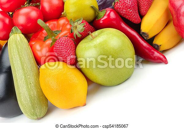 vegetal, fondo., blanco, fruta, aislado - csp54185067