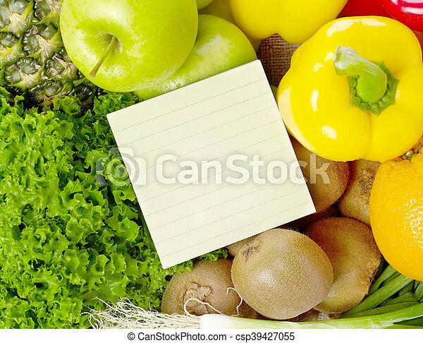 vegetal, lista, compras, fruits - csp39427055