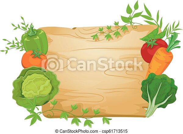 vegetal, tábua, ilustração, sinal - csp61713515