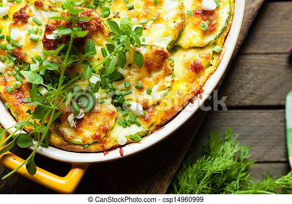 vegetal, topo, casserole, vista - csp14960999