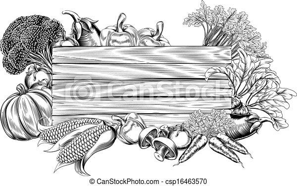 vegetal, vindima, retro, woodcut, sinal - csp16463570