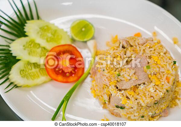 vegetales, arroz, frito - csp40018107