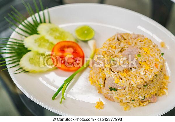 vegetales, arroz, frito - csp42377998