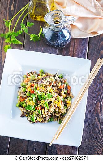 vegetales, arroz, frito - csp27462371