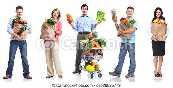 Gente con verduras y frutas. - csp26825779