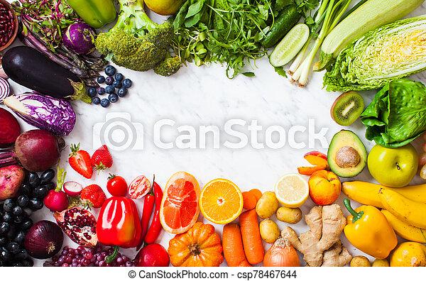 vegetales, space., blanco, clean-eating, fruits, marco, copia, cima, alimento, vista, aislado - csp78467644