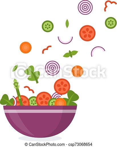Verduras volando en un tazón - csp73068654
