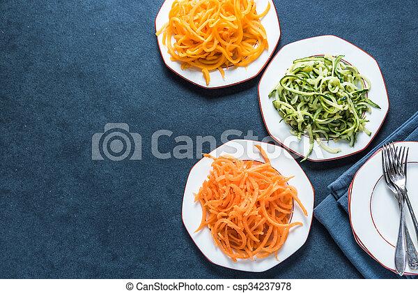 Vegetarian and healthy spaghetti  - csp34237978